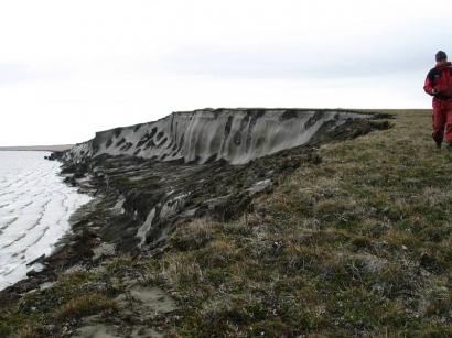 Ледяные обрывы, термоцирк к востоку от перешейка полуострова Кигилях